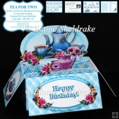 Tea For Two - 3D Box Card Kit & Matching Envelope - PU 300 dpi