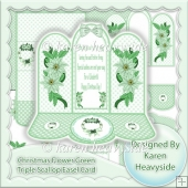 Christmas Flower Green Triple Scallop Easel Card