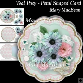 Teal Posy - Petal Shaped Card
