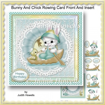 Bunny And Chick Rowing Card Front And Insert