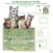 Cat With Her Kittens On The Wall - Cut & Fold 7 x 5 Card Kit