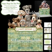 Puppy Dogs On The Wall - Shaped Cut Out Card, Envelope & Insert
