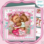 SNUGGLE BEARS 7.5 Valentine's Day Decoupage & Insert Mini Kit