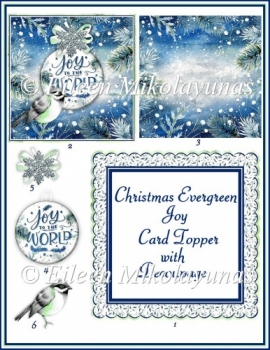 Christmas Evergreen Joy Card Topper with Decoupage