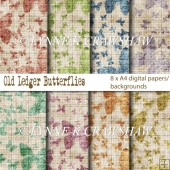 OLD LEDGER Butterflies - 8 x A4 high quality digital papers