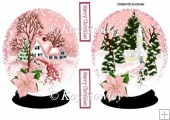 Pretty pink snow scene of church/cottage snow globes