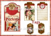 Homemade Christmas Double Pocket Library Card and Tags Set