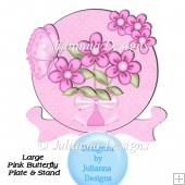 Large Round Plate Pink Butterfly