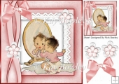 I'm so cute, baby girl in mirror with lace & bow 8x8