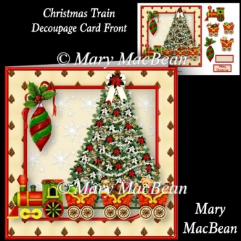 Christmas Train - Decoupage Card Front