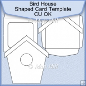 Bird House Shaped Card Template Commerical Use OK