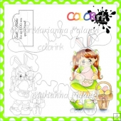 Happy Easter Mary and Sentiment Digital Stamps