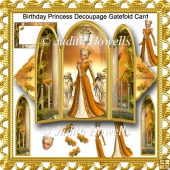 Birthday Princess Decoupage Gatefold Card