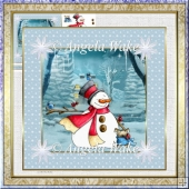 Snowman and friend 7x7 card and decoupage