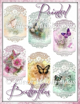 Cottage Chic Painted Butterfly Tags for Cards, Crafts