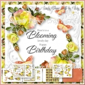 Roses and Butterflies Birthday Word Art 4