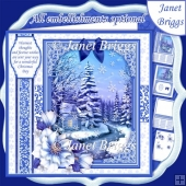 WINTER STREAM Christmas 7.8 Quick Layer Card or Decoupage Kit