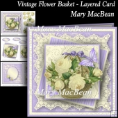 Vintage Flower Basket Layered Card
