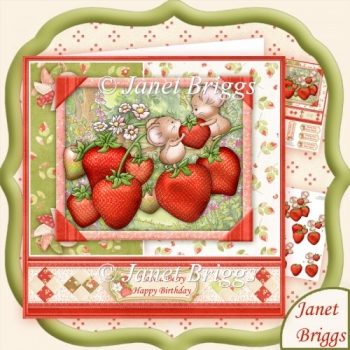 Strawberry Mice 8x8 Decoupage Mini Kit Various Occasions