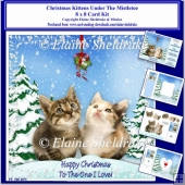 8 x 8 Christmas Kittens Under The Mistletoe Card Kit With Assort