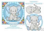 Blue Baby Elephant 6 x 6 Card Topper With Decoupage