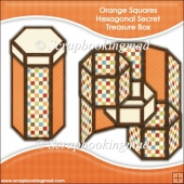 Orange Squares Hexagonal Secret Treasure Box