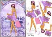 Archway Girls! Shopping in Purple Card Front and Decoupage
