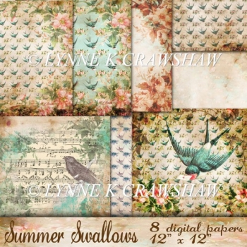 SUMMER SWALLOWS - 8 digital papers 12 inch x 12inch