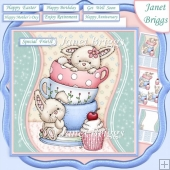 AFTERNOON BUNNY TEA 7.5 Decoupage & Insert Kit