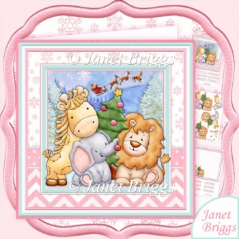 ANIMALS CHRISTMAS TREE 8x8 Baby Girl or Children Decoupage Kit