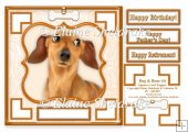 Dachshund Dog & Bone (4) - 7.5 x 7.5 Card Topper With Greetings