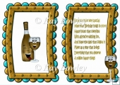 Toony face bottle with glasses in gold, birthday frame A5 Insert