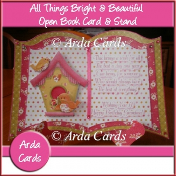 All Things Bright & Beautiful Open Book Card & Stand