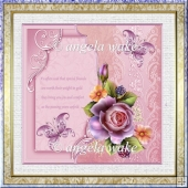 Friendship rose 7x7 card with decoupage, and sentiments