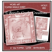 Word Art 6 inch sq Topper/Card Front - Holly Red