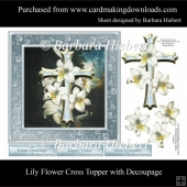 Lily Flower Cross Topper with Decoupage
