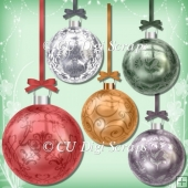 5 Christmas Baubles Set 1 CU4CU