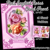 Pink English Roses Pyramage Card Front