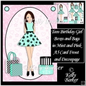Teen Birthday Girl Boxes ANd Bags In Mint And Pink A5 Decoupage