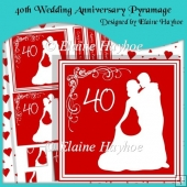 40th Wedding Anniversary Pyramage with Hearts Backing Paper