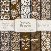 Damask in Brown Paper Pack CU4CU