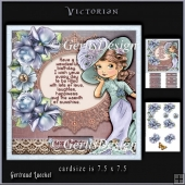 Victorian Time Vintage Blue Purple Roses 919