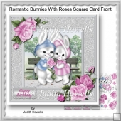 Romantic Bunnies With Roses Square Card Front