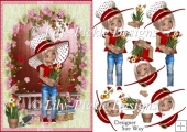 Sweet Little Gardener A5 Card Front & Decoupage