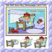 Get Well Soon Boy Decoupage Card Front
