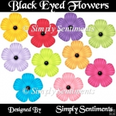10 Digital Black Eyed Flowers