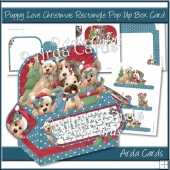 Puppy Love Christmas Rectangle Pop Up Box Card