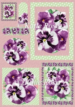 Country Flowers Purple Pansies Frame Plus Topper Sheet