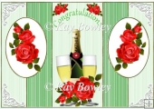 Lovely red roses to celebrate with champgne pop out card