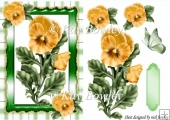 pretty yellow pansies with gingham & butterfly A5
